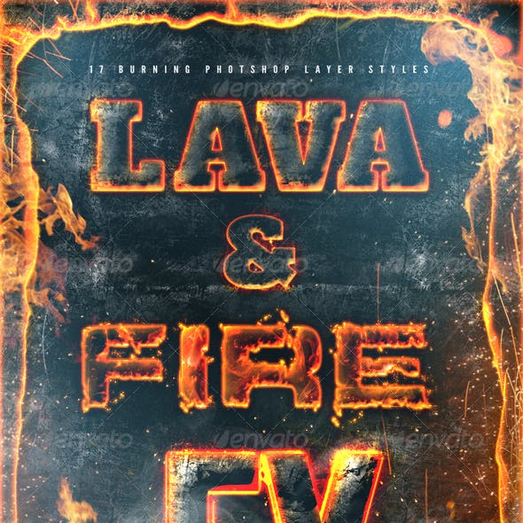 Hot Lava and Fire Layer Styles Text Effects