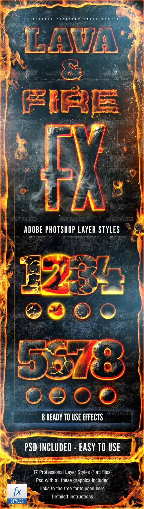 Hot Lava and Fire Layer Styles Text Effects - Text Effects Styles