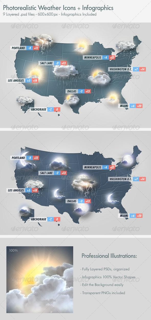 Photo Realistic Weather Icons Set - Seasonal Icons