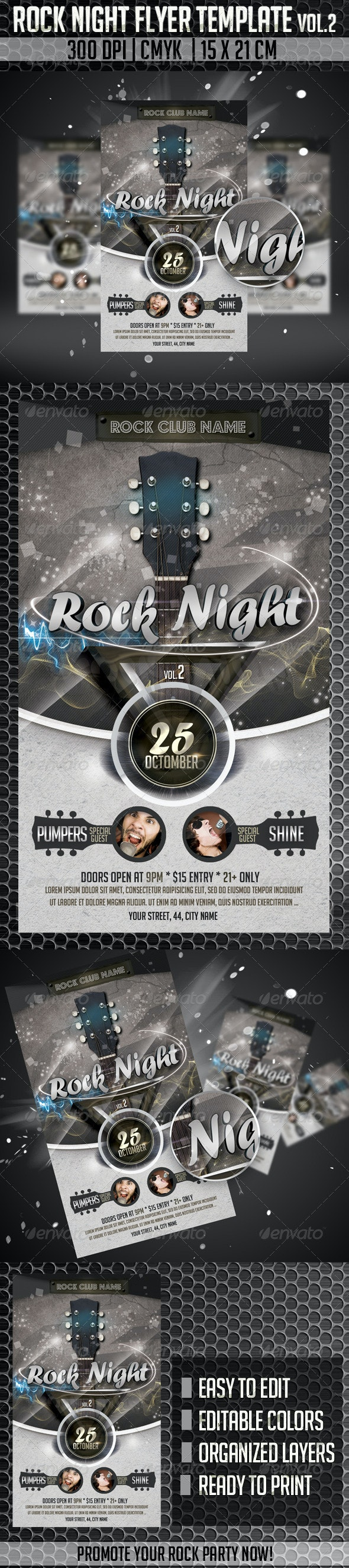 Rock Night Flyer Template Vol2 - Clubs & Parties Events