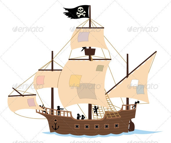 Pirate Ship on White - Man-made Objects Objects
