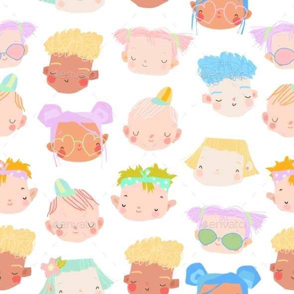 Seamless Pattern of Kids Faces on a White - People Characters