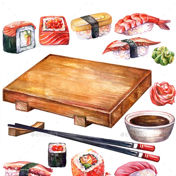 Japanese Food Set of Rolls and Sushi Board