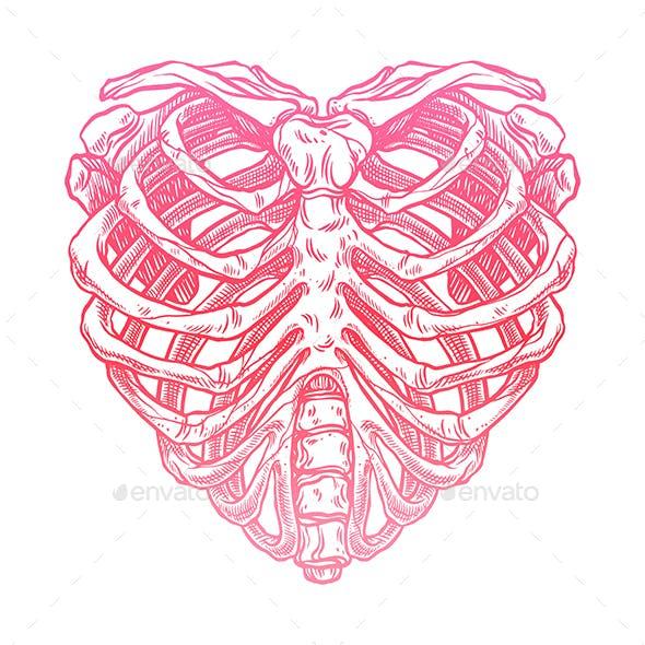 Skeleton heart shape