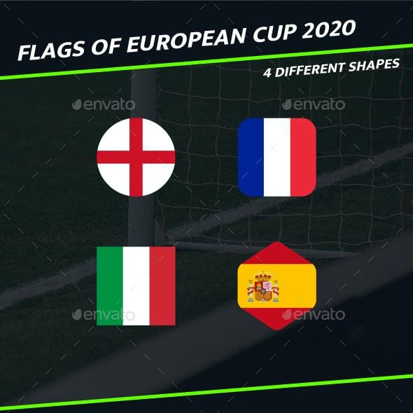2020 Euro Cup - Football Soccer Team Flags