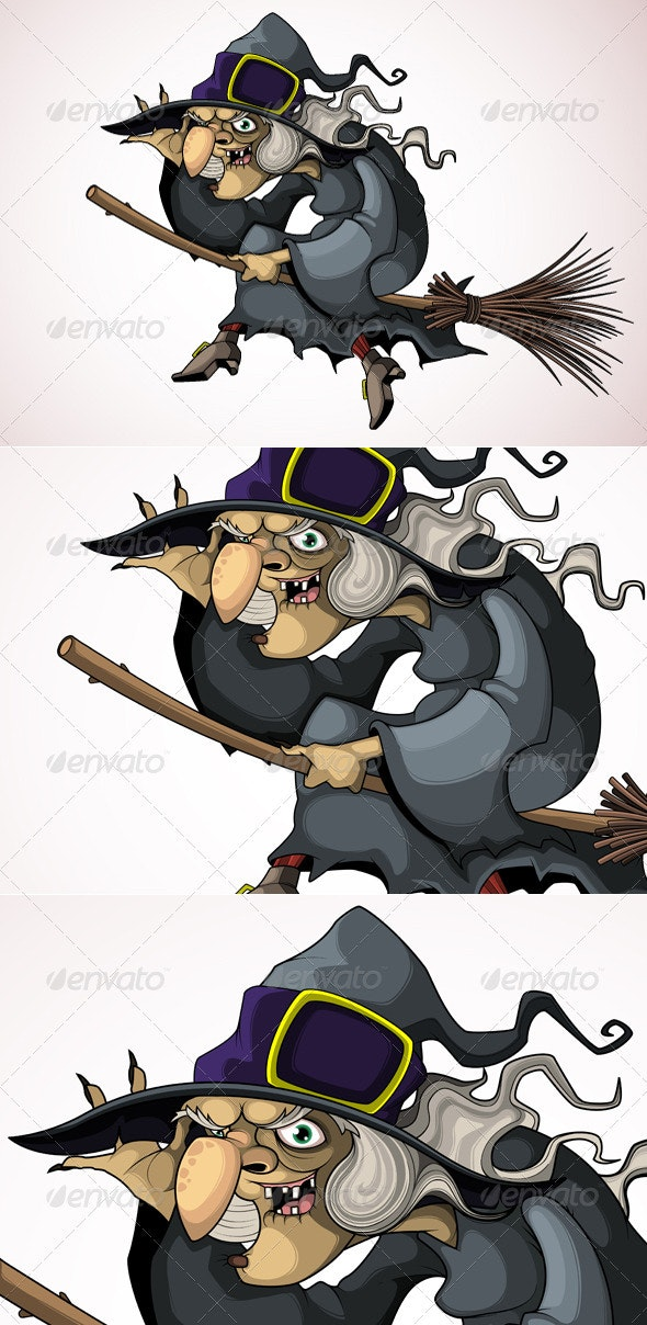 Witch flying on a broom - Characters Vectors