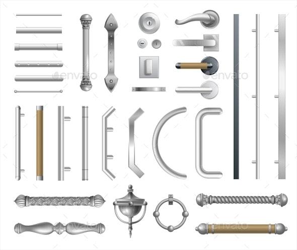 Set of Modern and Classic Door Handles - Objects Vectors