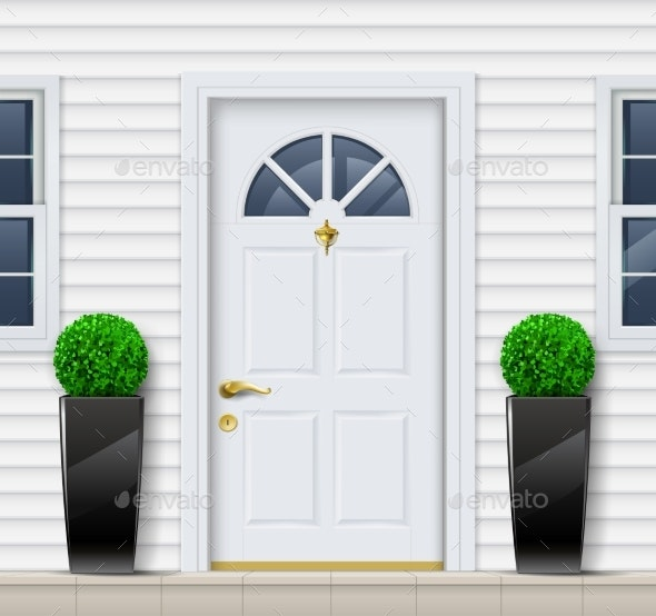 Front Door to House Porch and Windows - Buildings Objects