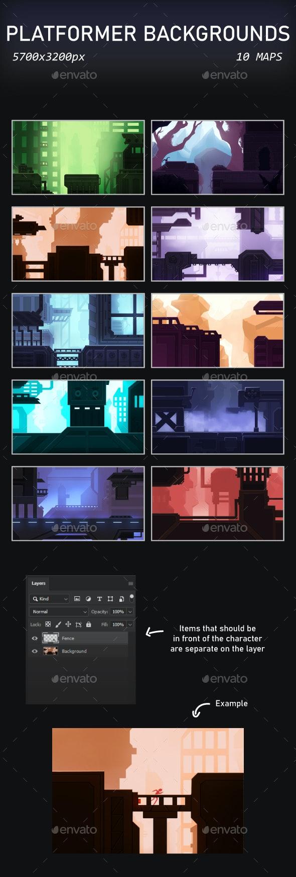 Platformer Backgrounds - Backgrounds Game Assets