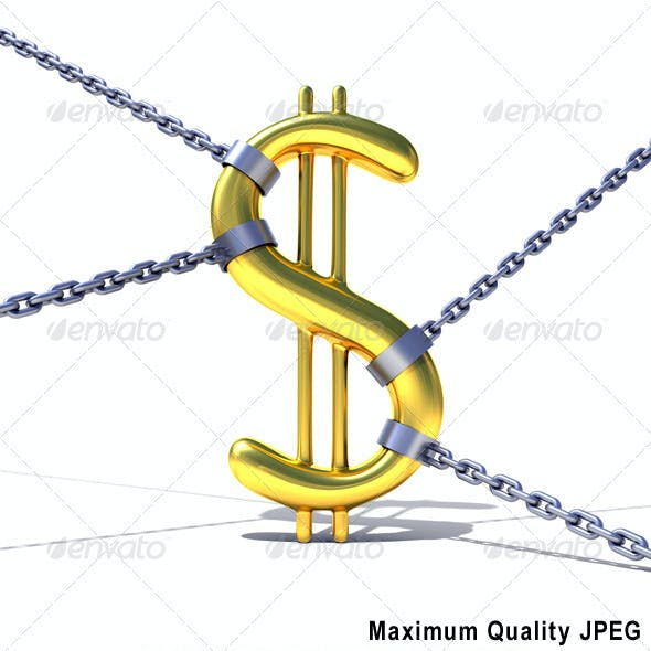 Dollar Sign Tied by Chains