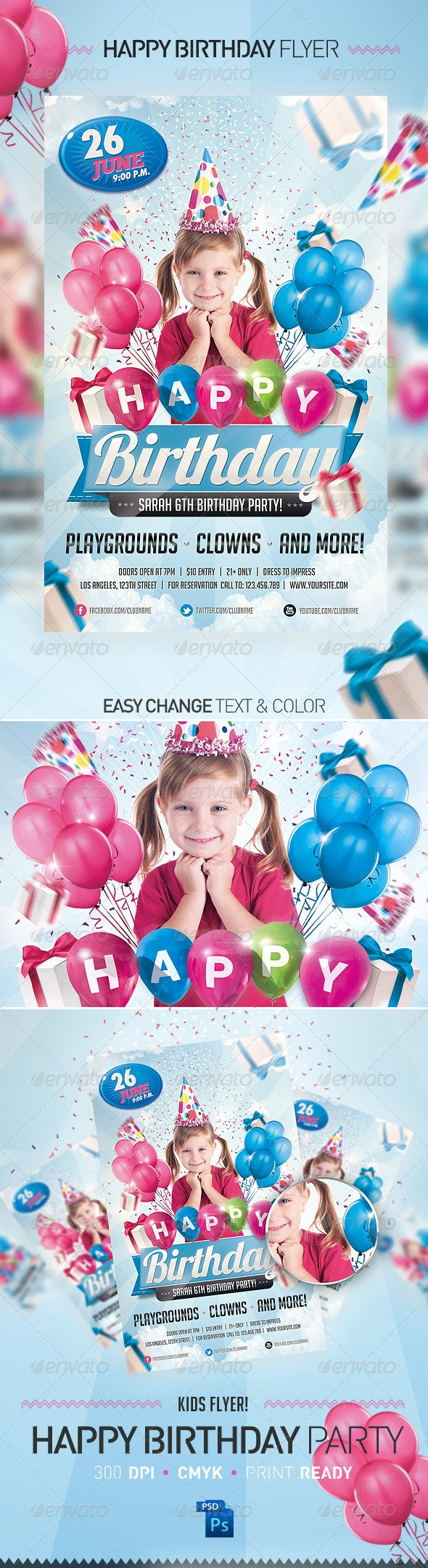 Kids Birthday Invitation Party Flyer - Miscellaneous Events