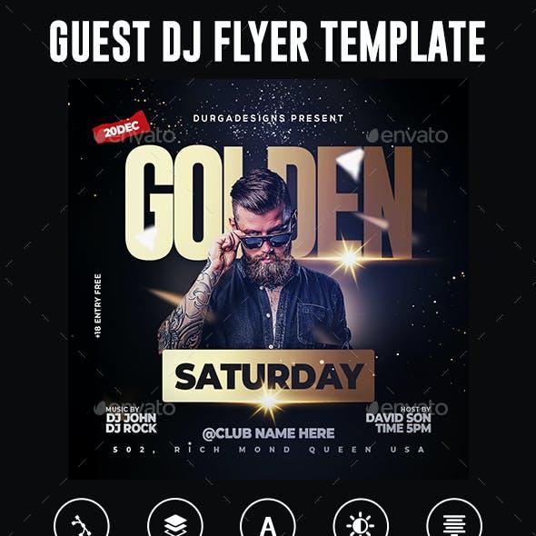 Golden Guest Dj Night Club Flyer Template