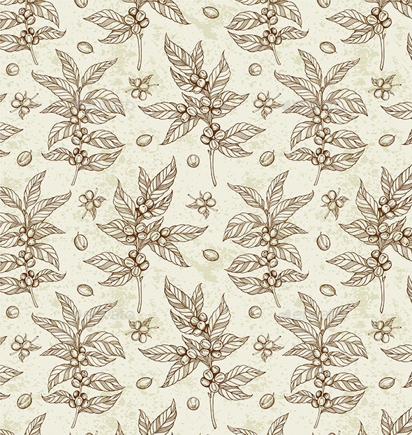 Vintage Seamless Pattern with Coffee Plant - Patterns Decorative