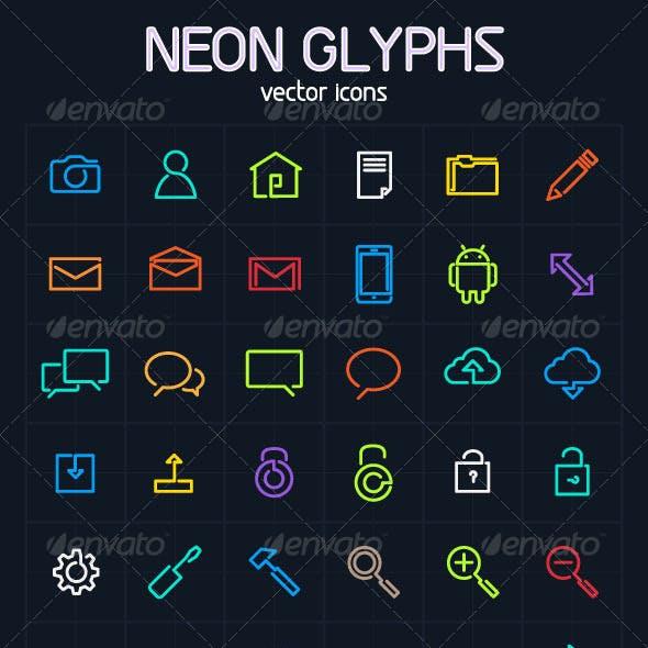 Neon Glyph Vector icons