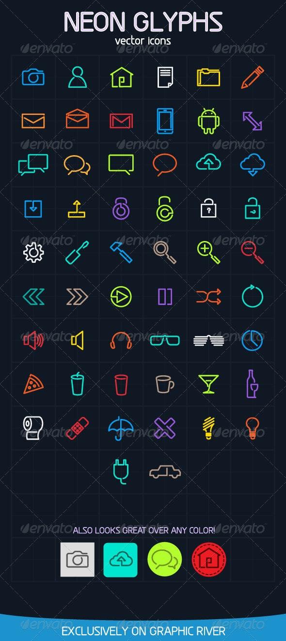 Neon Glyph Vector icons - Web Icons