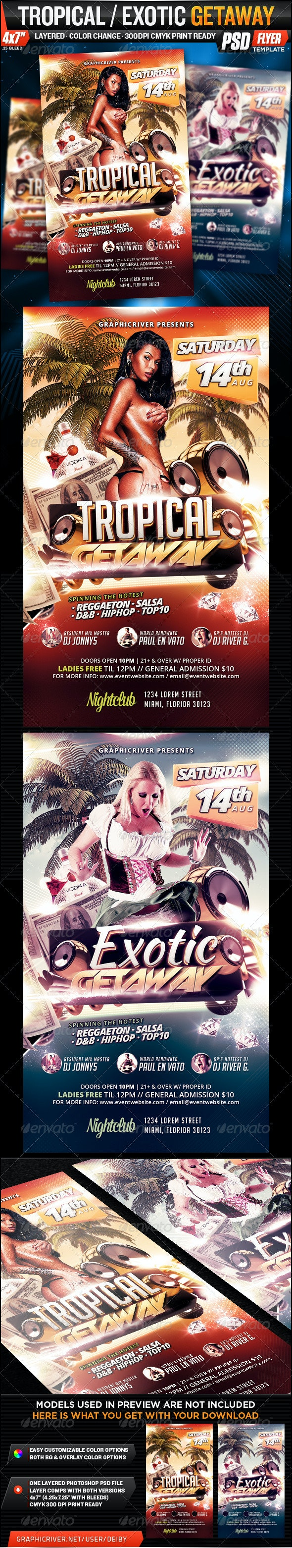 Tropical / Exotic Getaway Flyer Template - Events Flyers