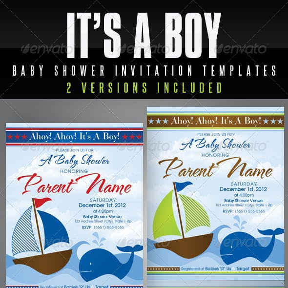 It's A Boy Baby Shower Invitation Templates