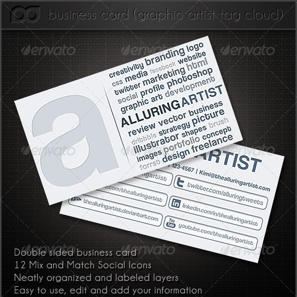 Graphic Artist Tag Cloud Double Side Business Card