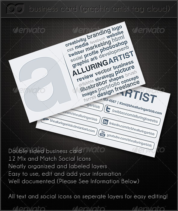 Graphic Artist Tag Cloud Double Side Business Card - Corporate Business Cards