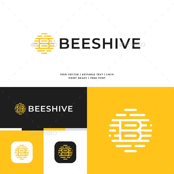 Bees Hive B Letter Logo