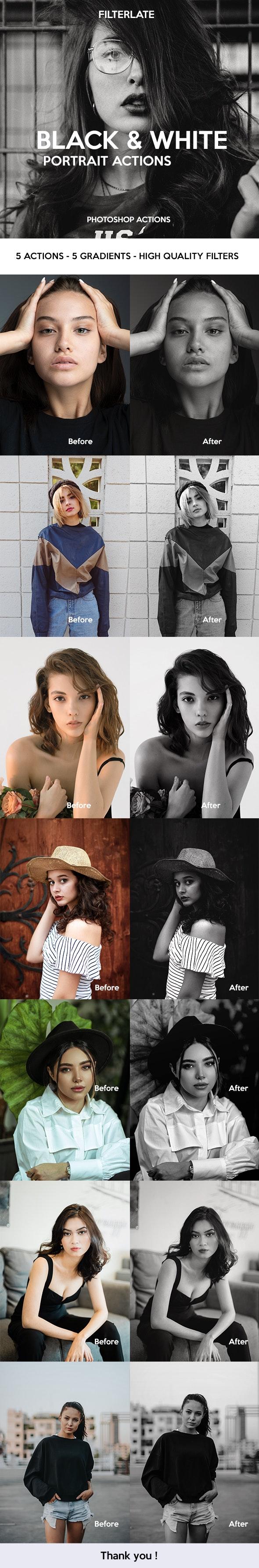 Black & White Portrait Actions - Photo Effects Actions