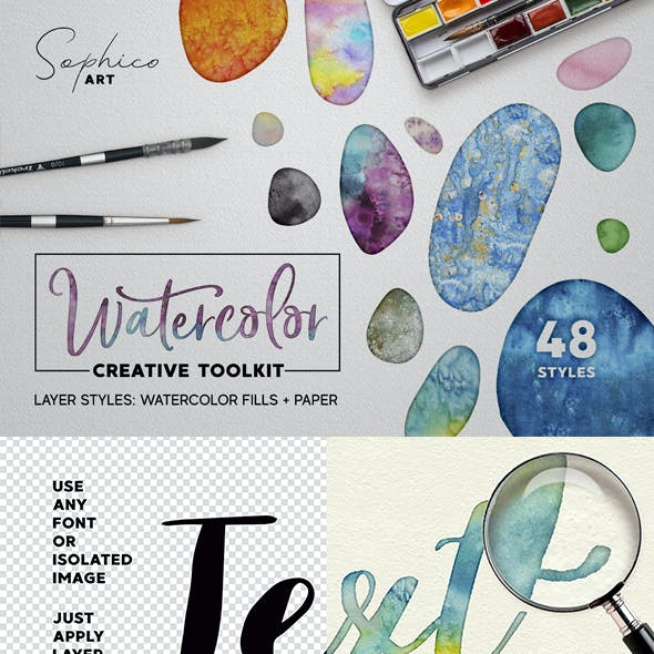 Watercolor Layer Effects, Paper Texture For Adobe Photoshop Kit