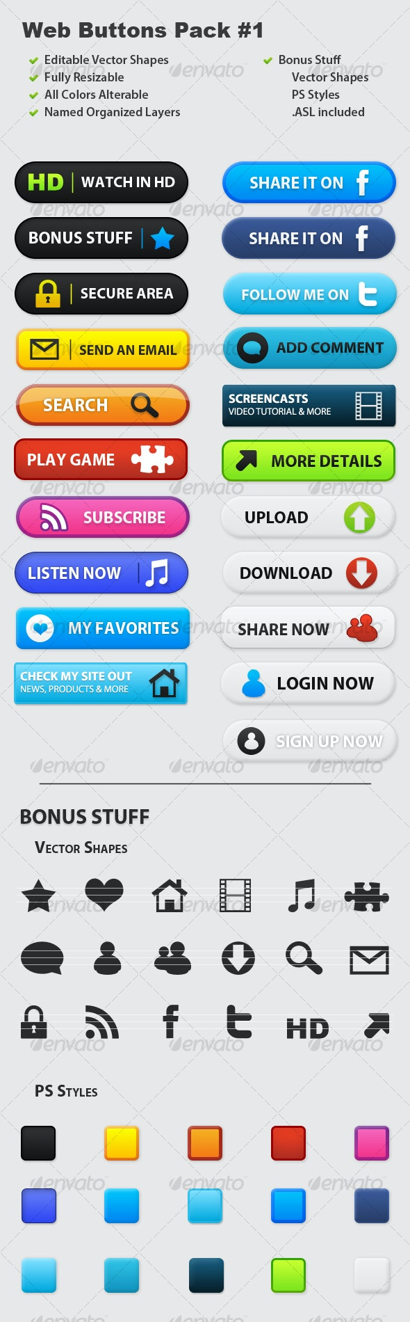 Web Buttons Pack #1 - Buttons Web Elements