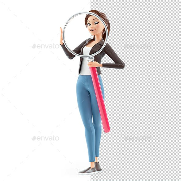3D Cartoon Woman Holding Big Magnifying Glass