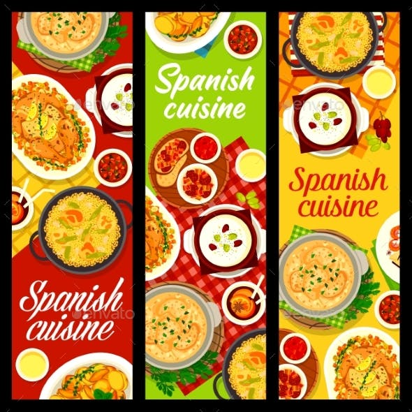 Spanish Cuisine Vector Banners Spain Dishes
