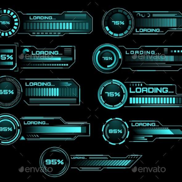 HUD Loading Progress Bars Sci Fi Vector Interface