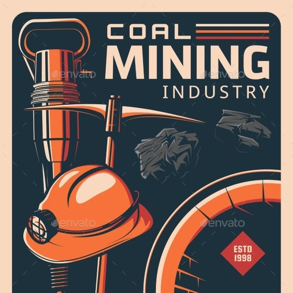 Coal Mining and Miner Tools Vintage Retro Poster