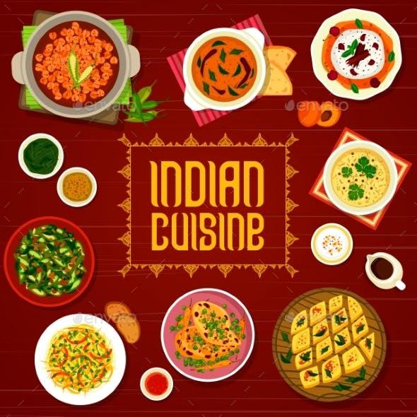 Indian Cuisine Restaurant Menu Cover Spice Food