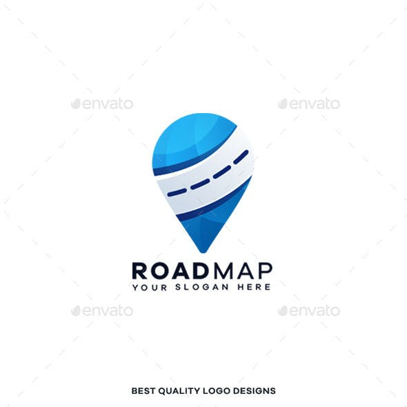 Road Map Gradient Colorful Logo Template