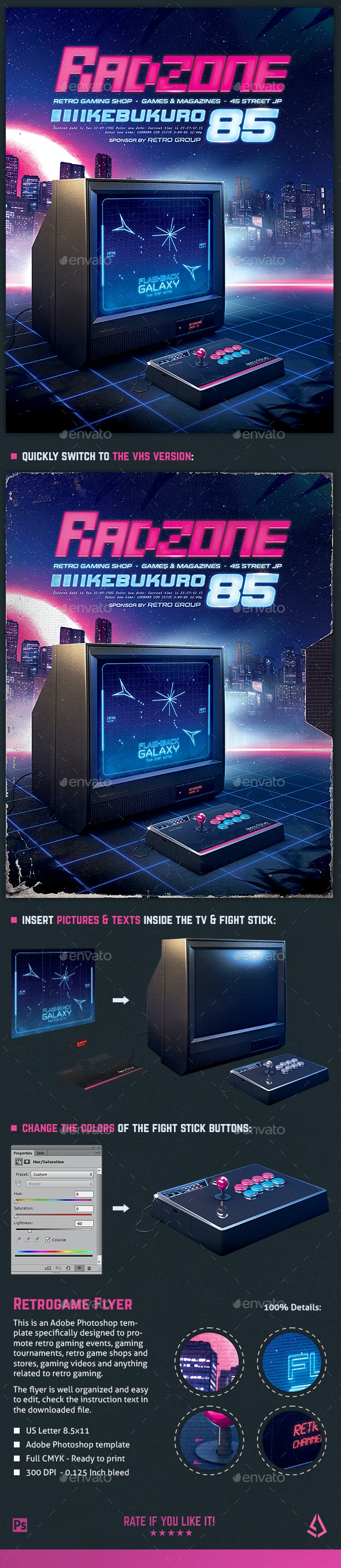 Retro Gaming Flyer 80s Classic Arcade TV - Miscellaneous Events