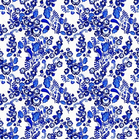 Blue Floral Seamless Pattern in Russian Gzhel