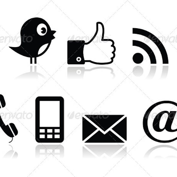 Contacy and social media icons set- twitter, faceb