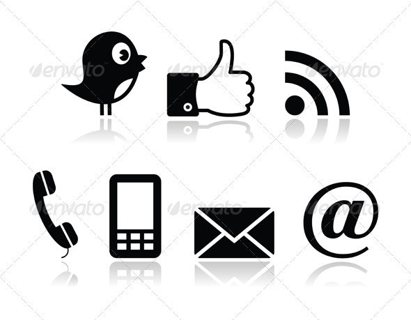 Contacy and social media icons set- twitter, faceb - Web Elements Vectors
