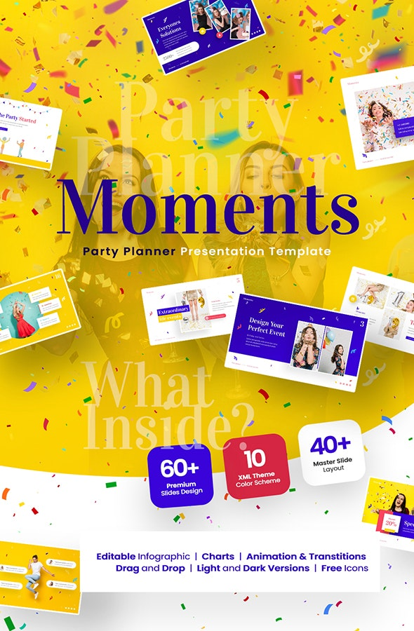 Moments Creative Party Planner Powerpoint Template - Creative PowerPoint Templates