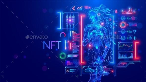 NFT Token in Artwork - Technology Conceptual