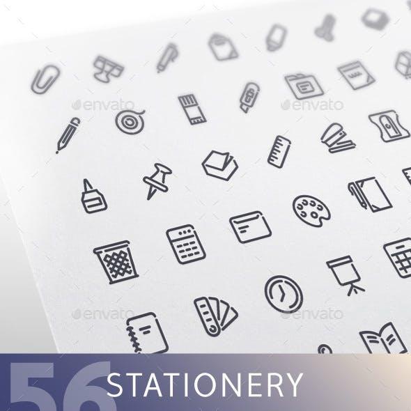 Stationery Line Icons Set