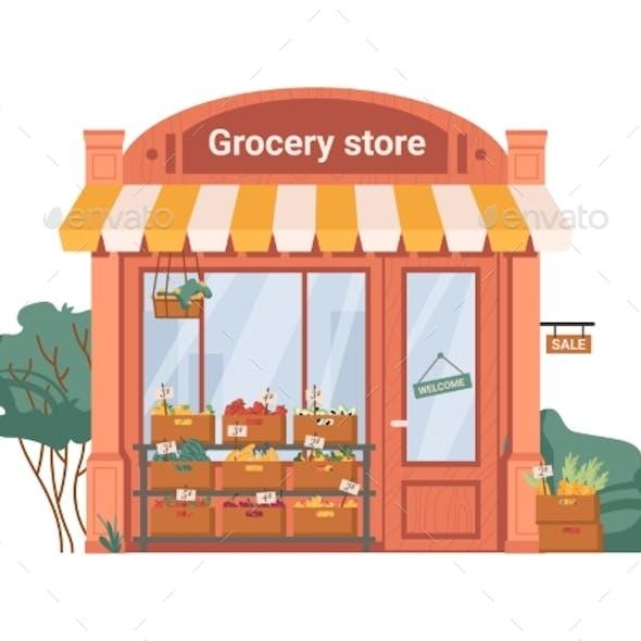 Facade Exterior of Grocery Shop Fruits Vegetables