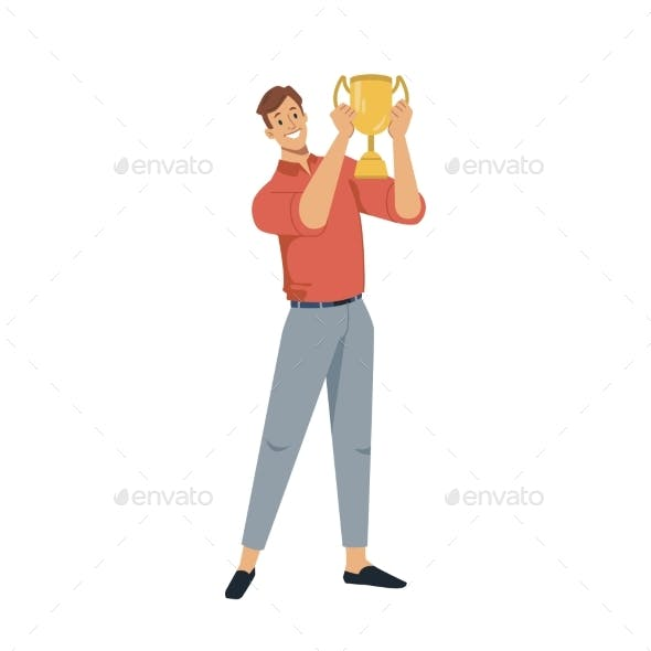 Man Holding Golden Cup Award in Hands Isolated