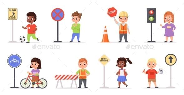 Kids Traffic Rules - Miscellaneous Vectors
