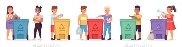Kids Sort Garbage - People Characters