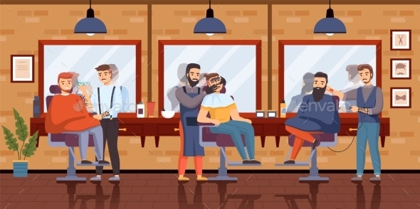 Barber Shop Interior - People Characters