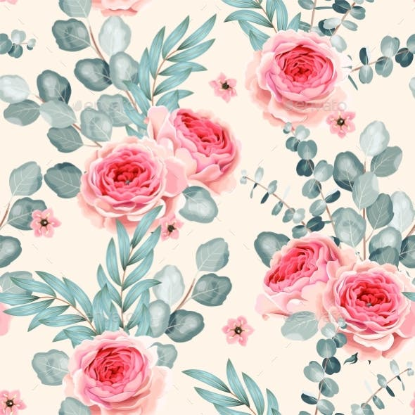 Vector Seamless Pattern with Roses and Eucalyptus