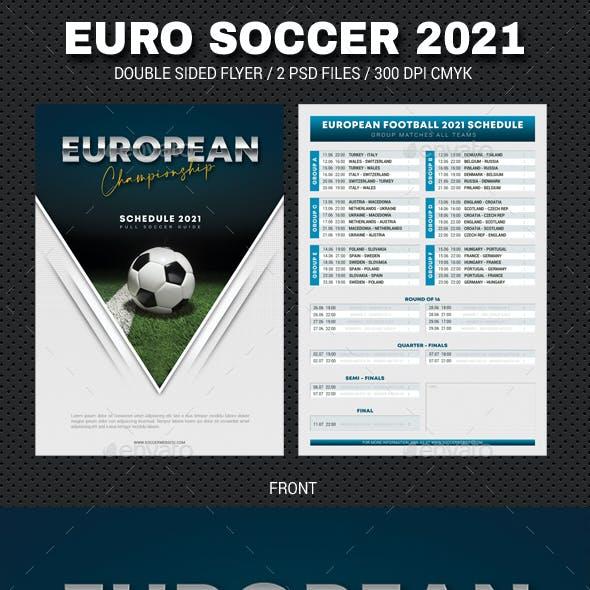 European Soccer Football Championship 2021 Schedule Flyer