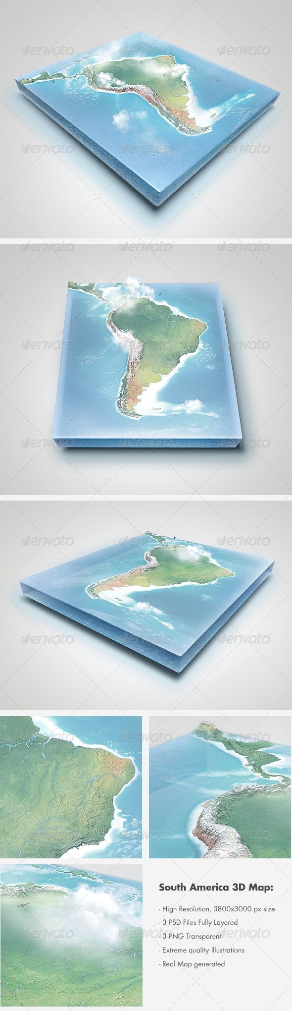 Realistic South America Map - Layered - Miscellaneous Graphics