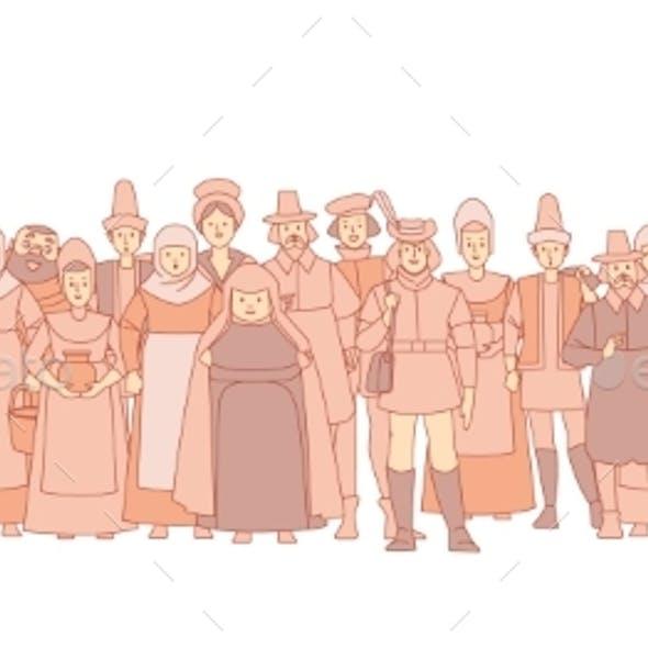 Medieval Crowd People