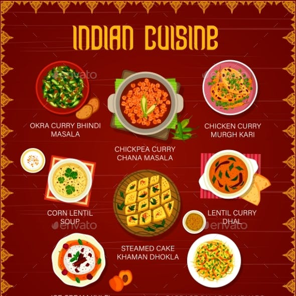 Indian Cuisine Restaurant Menu with Curry Dishes